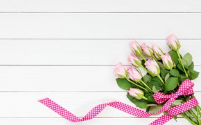 Picture flowers, roses, bouquet, tape, pink, buds, wood, pink, flowers, beautiful, romantic, roses