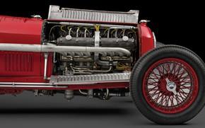 Picture Wheel, The hood, Engine, Spokes, Alfa Romeo, Classic, Scuderia Ferrari, 1932, Grand Prix, Classic car, …