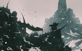 Picture Mountains, Horse, Dragon, Rocks, Monster, Battle, Warrior, Battle, Fantasy, Dragon, Art, Fiction, Omar Bronze, by …