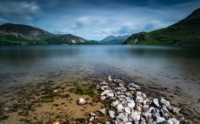 Picture sand, water, clouds, mountains, lake, stones, hills, shore, the slopes, tops, the bottom, haze, pond, …
