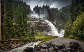 Picture forest, landscape, nature, river, stones, waterfall, Александр Безмолитвенный