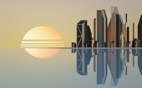 Picture Sunset, The sun, Reflection, The city, Style, Background, City, Architecture, 80s, Sun, Style, Sunset, Illustration, …