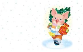 Picture winter, mood, holiday, gift, art, New year, symbol, herringbone, snowflake, children's, pig