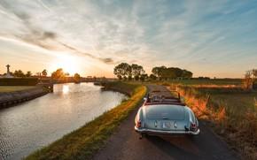Picture landscape, river, dawn, cross, village, mercedes, convertible, mercedes-benz, 190 SL