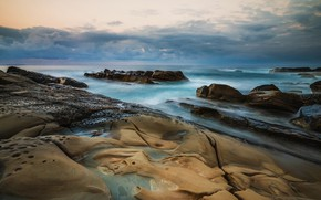 Picture sea, the sky, nature, stones, overcast, rocks, horizon, surf, cloudy, rocky shore, stone ridge