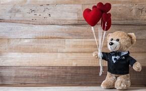 Wallpaper love, toy, heart, bear, hearts, red, love, bear, heart, wood, romantic, teddy, valentine's day, gift, ...