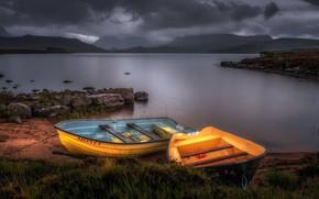 Picture lake, shore, boats