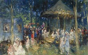 Picture picture, genre, Pierre Eugène Montesin, Pierre-Eugene Montezin, Carousel in Saint-Mames