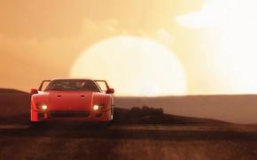 Picture The sun, Auto, Machine, Ferrari, Supercar, Rendering, The front, Gran Turismo 6, 80's, Ferrari F-40, …