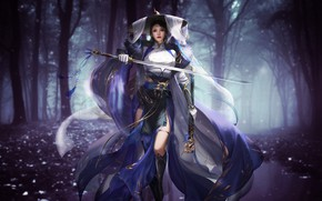 Picture Girl, Forest, Style, Asian, Girl, Sword, Warrior, Dress, Fantasy, Asian, Beauty, Style, Warrior, Fiction, Beauty, …