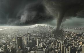 Picture clouds, the city, rendering, the wind, danger, element, Apocalypse, building, home, storm, skyscrapers, power, destruction, …