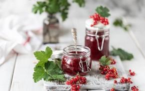 Picture jam, jar, red currant