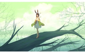 Picture water, girl, nature, tree, ears