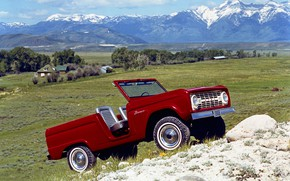 Picture red, Roadster, Ford, valley, 1966, Bronco