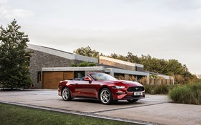 Picture lawn, the building, Ford, Parking, convertible, 2018, dark red, Mustang Convertible