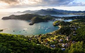 Picture sea, yachts, Caribbean, Antigua and Barbuda