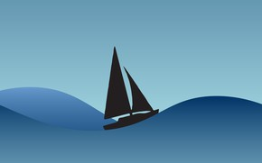 Picture waves, sea, minimalism, artwork, Sailboat
