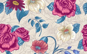 Picture flowers, background, background, seamless