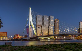 Picture bridge, lights, the evening, Netherlands, Rotterdam