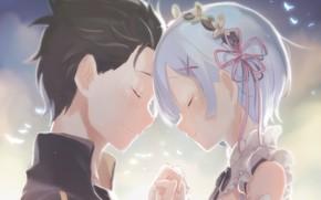 Picture girl, anime, art, guy, two, Subaru, Romance, Re: Zero kara hajime chip isek or Seikatsu, …