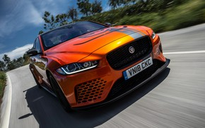 Picture orange, speed, Jaguar, 2018, XE SV, Project 8