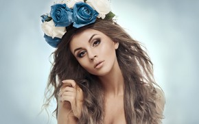 Picture look, flowers, pose, background, hair, portrait, roses, makeup, hairstyle, brown hair, beauty, wreath, bokeh
