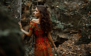 Picture forest, girl, pose, hair, dress, Lily, Alexander Sasin