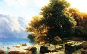 Picture landscape, stones, boat, picture, Alexander Kalam, Alexandre Calame, Lake Ten