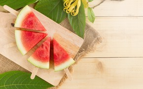 Picture Sticks, Leaves, Watermelon, berry, Board, slices