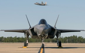 Picture F-22, UNITED STATES AIR FORCE, fighter-bomber, Lightning II, F-35, Lockheed Martin