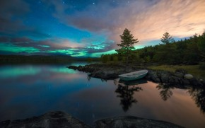 Picture landscape, nature, lake, reflection, stones, dawn, boat, Ole Henrik Skjelstad