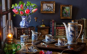 Picture flowers, style, books, lamp, coffee, bouquet, Cup, tulips, pictures, still life, bells, set, chest, coffee …