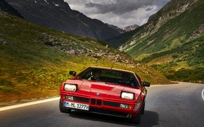 Picture road, mountains, red, BMW, BMW M1, E26, M1