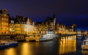 Picture night, lights, river, home, ships, Poland, lights, promenade, court, Gdansk