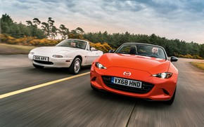 Picture white, orange, Mazda, MX-5, roadsters, the first generation (NA), fourth generation (ND)