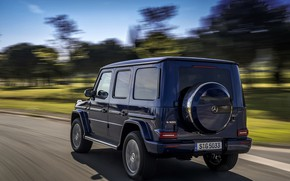 Picture road, blue, Mercedes-Benz, speed, SUV, 4x4, 2018, G-Class, G 500, V8