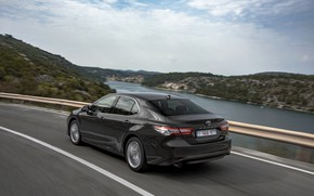 Picture road, the fence, Toyota, sedan, Hybrid, Camry, 2019