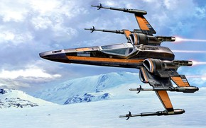 Picture Star Wars, Fantastic, X-wing, space fighter, planet Hot