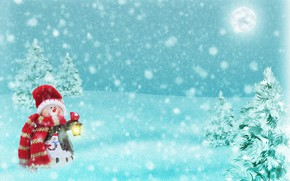 Picture winter, forest, light, snow, snowflakes, night, holiday, the moon, hat, toy, vector, scarf, Christmas, flashlight, …