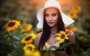 Picture girl, sunflowers, hat, dress, Chavdar Dimitrov