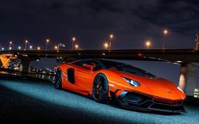 Picture Lamborghini, Orange, Bridge, Lights, Night, Aventador, VAG