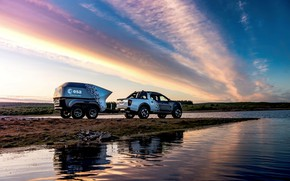 Picture water, sunset, shore, Nissan, pickup, the trailer, 2018, Navara, Dark Sky Concept