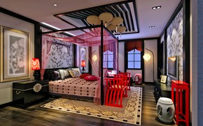 Picture design, style, carpet, bed, interior, the ceiling, bedroom