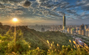 Wallpaper greens, summer, the sky, the sun, clouds, rays, light, trees, mountains, the city, fog, dawn, ...