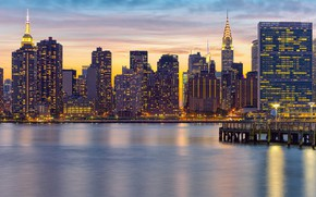 Picture city, lights, USA, river, sky, sunset, water, New York, Manhattan, NYC, New York City, clouds, …