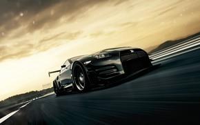 Picture Auto, Black, Machine, Movement, Car, Car, Art, Nissan GT-R, The front, Vehicles, Blind Sarathonux, Transport, …