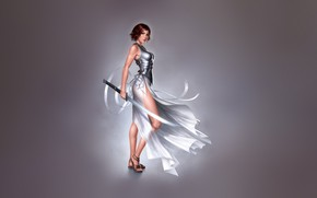 Picture Girl, Minimalism, Girl, Sword, Dress, Art, Art, Minimalism, Blade, Sword, Characters, Dress, Warren Louw, Blade, …