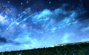 Picture the sky, night, nature, train, shooting stars, OR