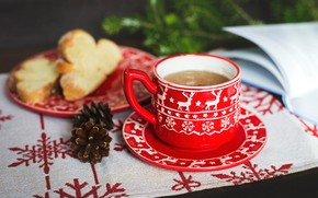 Picture snowflakes, table, background, holiday, tea, new year, Christmas, bread, the tea party, mug, Cup, dishes, …