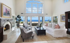 Picture design, room, sofa, interior, picture, window, fireplace, mansion, living room